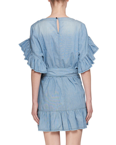 Lelicia Round-Neck Wrap-Front Chambray Dress