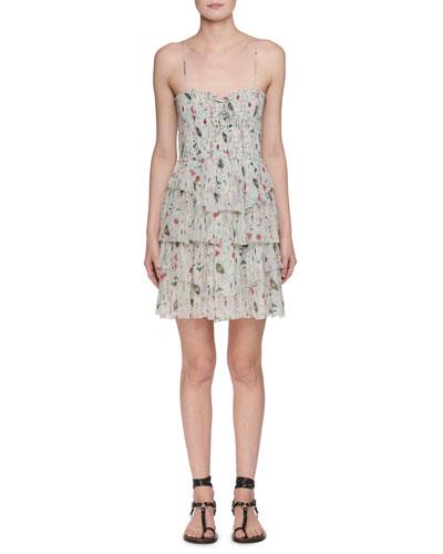 Elma Sleeveless Printed Smocked Dress