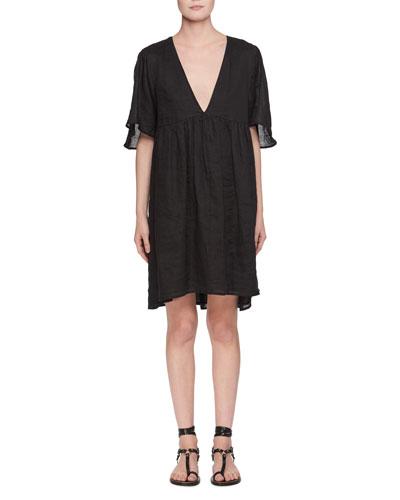 Talita Deep-V Linen Dress