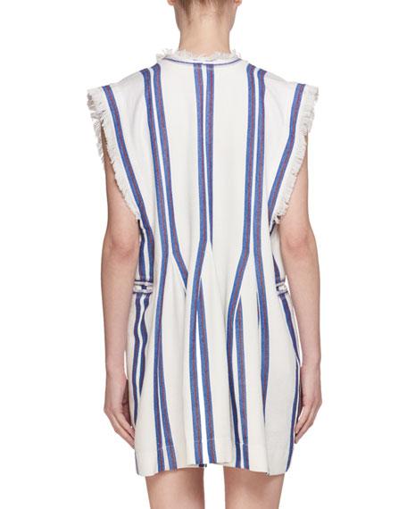 Denize V-Neck Striped Cotton Poncho Dress