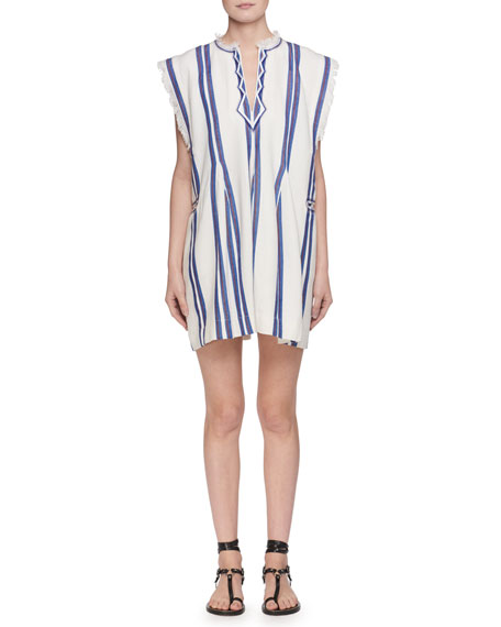 Denize V-Neck Striped Cotton Poncho Dress