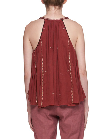Mysen Sleeveless Cotton Blouse with Embroidery Trim