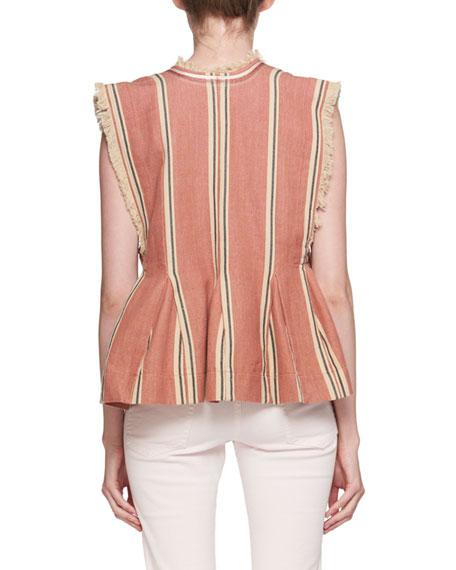 Drappy Sleeveless Striped Peplum Cotton Blouse