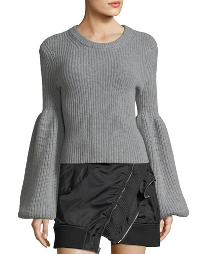 Cropped Crewneck Bell-Sleeve Sweater