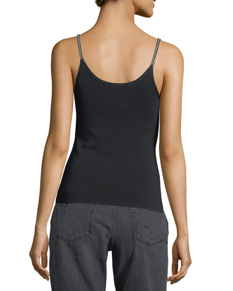 Ribbed Chain-Trim Tank Top