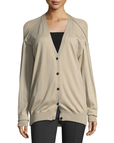 Drape-Back V-Neck Cardigan