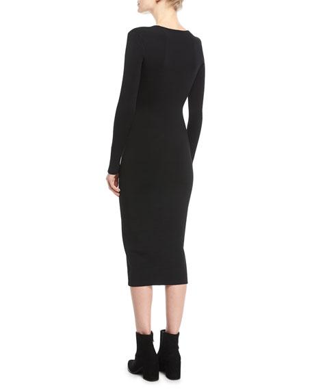 Long-Sleeve Chain-Trim Midi Dress