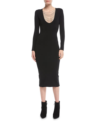 Long-Sleeve Chain-Trim Midi Dress