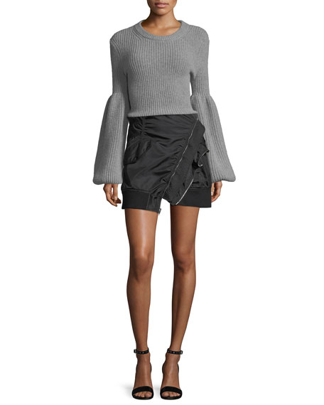 Deconstructed Bomber Mini Skirt
