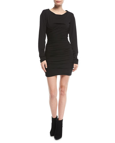 Ruched Jersey Long-Sleeve Mini Dress