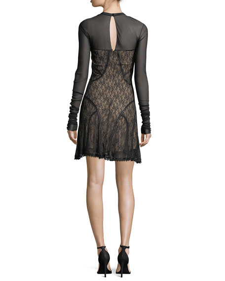 Long-Sleeve Paneled Lace Dress