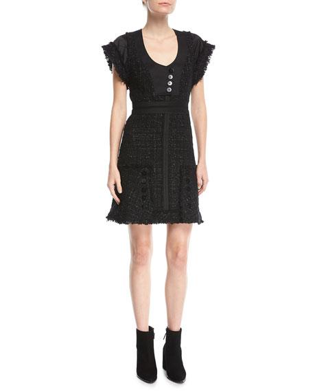 Deconstructed Tweed Mini Dress