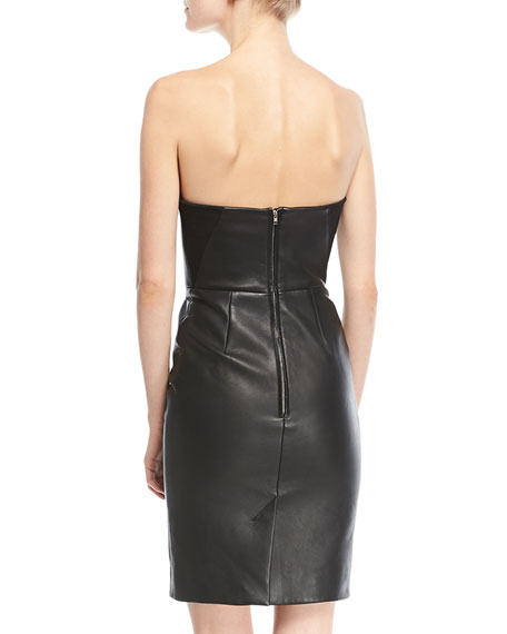 Strapless Molded Leather Bustier Dress
