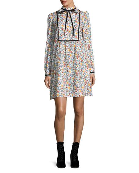 Rita Floral Tie-Neck Dress