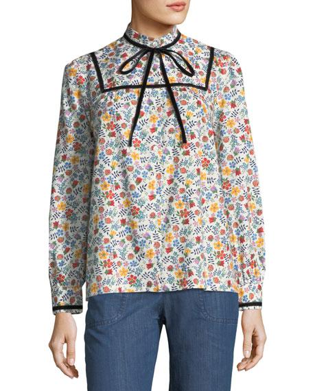 Abott Floral Tie-Neck Blouse