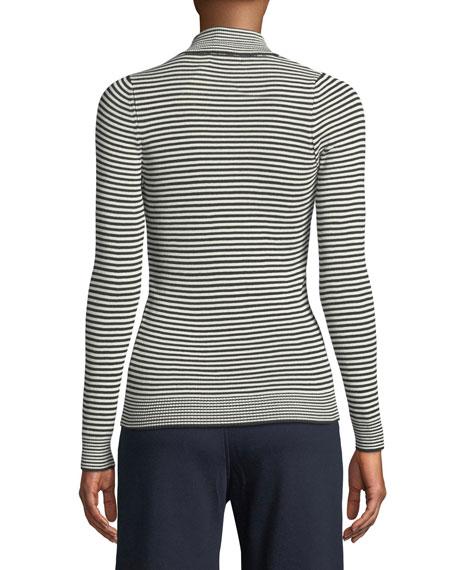 Metallic Striped Mock-Neck Sweater