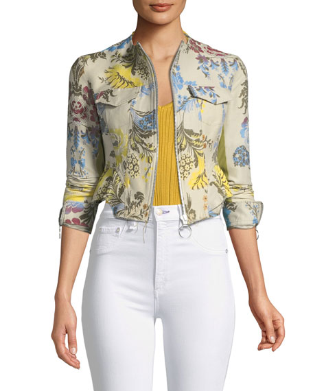 Zip-Front Floral Brocade Cropped Peplum Jacket