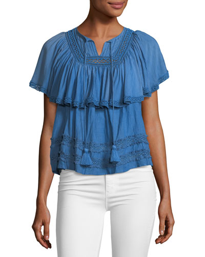 Adaline Ruffled Tie-Neck Top