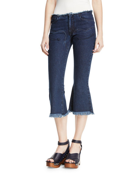 Cowboy Cropped Flare-Leg Jeans