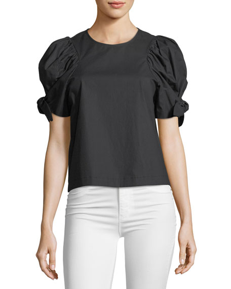 Puff-Sleeve Voile Top