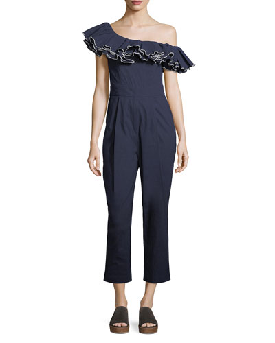 Carmen Ruffled One-Shoulder Jumpsuit