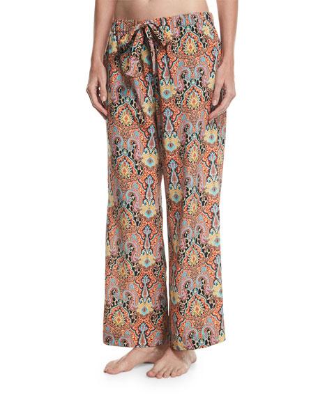 Printed Wide-Leg Drawstring Beach Pants