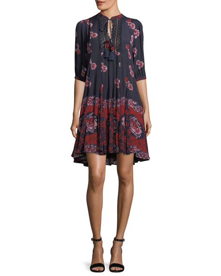 Paisley Tie-Neck Tunic Dress