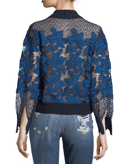 Mosaic Lace Rib-Trim Sweatshirt