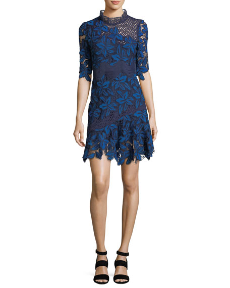 Half-Sleeve Mosaic Lace Dress