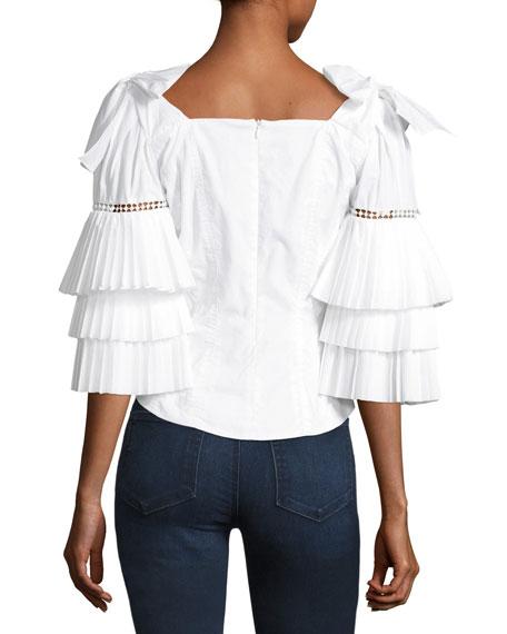 Antoinette Tier-Sleeve Cotton Blouse