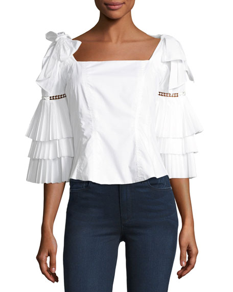 Antoinette Tier-Sleeve Cotton Blouse