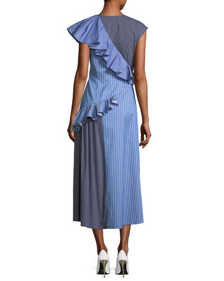 Asymmetric Striped Midi Dress