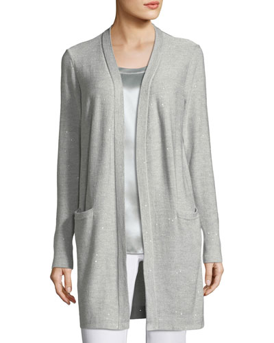 Sequin-Embellished Long Silk-Blend Cardigan