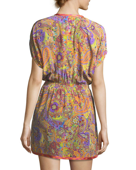 V-Neck Blouson Printed Silk Coverup Mini Dress
