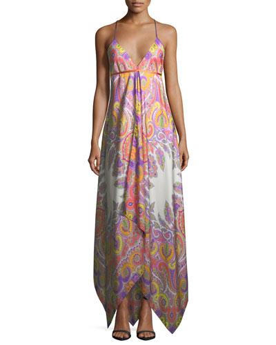 V-Neck Sleeveless Paisley Printed Maxi Dress with Ribbon Ties