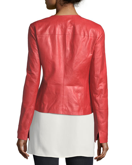 Caridee Zip-Front Leather Jacket