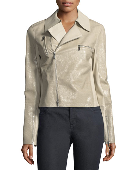 Bevin Checker Glass Leather Biker Jacket