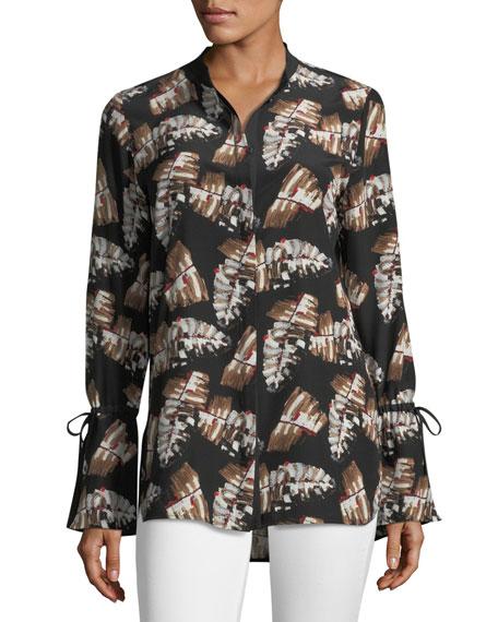 Desra Impasto Leaf-Print Silk Blouse