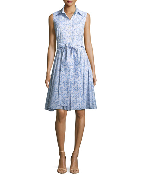 Gigi Sleeveless Floral-Print Shirtdress