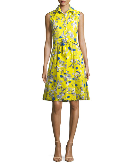 Gigi Sleeveless Poppy-Print Shirtdress