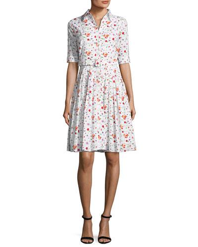 Audrey Half-Sleeve Floral Shirtdress