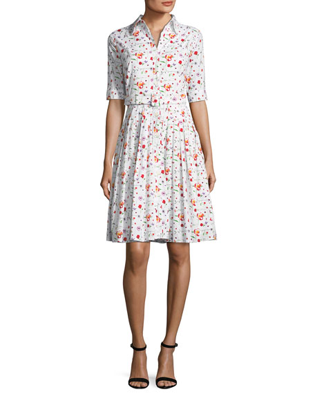 Audrey Half-Sleeve Floral Shirtdress
