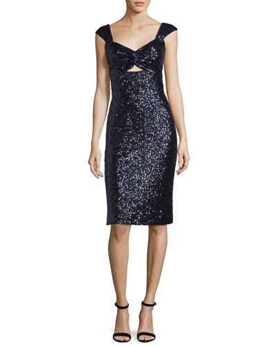 Kim Sleeveless Sweetheart-Neck Sequined Cocktail Dress