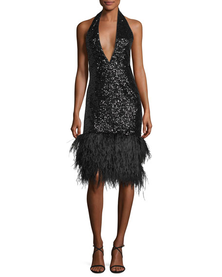 Amelia Plunging Halter Sequined Cocktail Dress