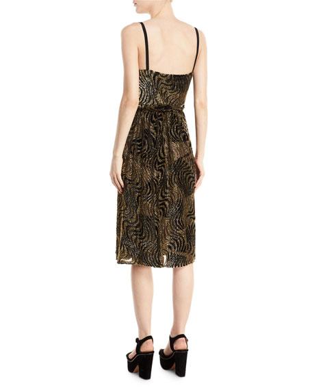 Haley Burnout Velvet V-Neck Cocktail Dress