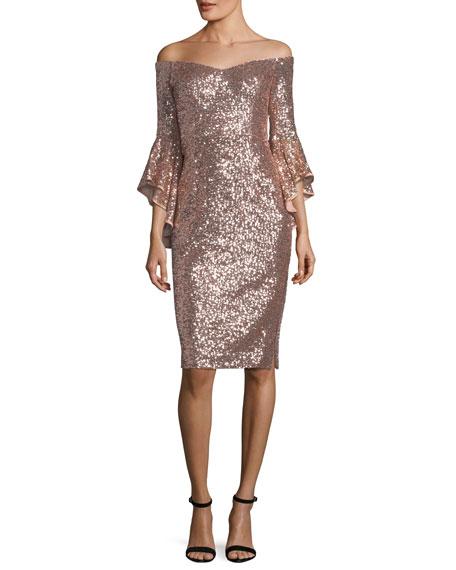 Selena Off-the-Shoulder Bell-Sleeve Sequined Cocktail Dress
