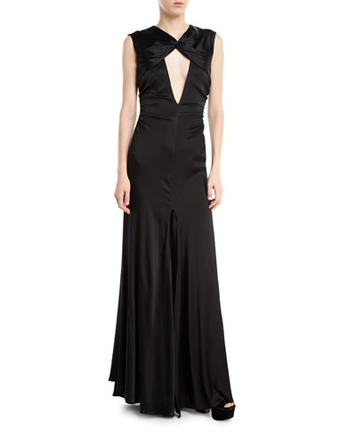 Jenny Cutout Stretch-Charmeuse Gown