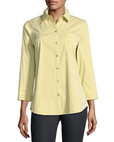 Paget Ithaca Mini-Check Shirting Blouse