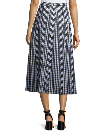 Adalia Belmont Check Shirting Midi Skirt
