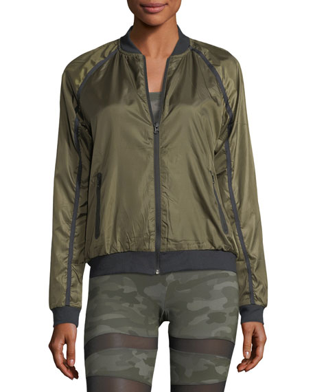 Zip-Front Lightweight Bomber Jacket